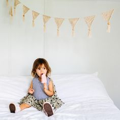 The Natural Crochet Bunting adds a bit of boho beauty to any room. Crafted from cotton with 15 crochet triangles x each with a wooden bead detail. Stylish Baby, Stylish Kids, Nursery Bunting, Crochet Bunting, Crochet Triangle, Boho Girl, Girl Nursery, Nursery Ideas, Wooden Beads