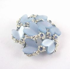 light blue thermoset brooch | 1950s BSK Blue Thermoset Hearts Cluster Brooch Vintage Jewelry