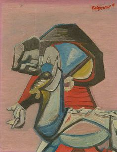 Woman and Goat by Robert Colquhoun (Scottish, 1914-1962)