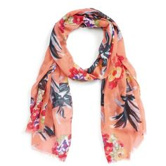 Women's Sole Society Tropical Print Scarf ($30) ❤ liked on Polyvore featuring accessories, scarves, coral, floral shawl, sole society, coral scarves, floral scarves and floral print scarves