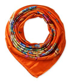 "Corciova®  35"" Silk-like Big Square Scarf 35 x 35 (Flowers orange background)"