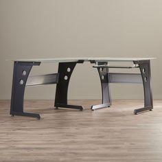 Orren Ellis Bramblett Glass L-Shape Computer Desk Wall Mounted Desk, Wall Desk, Solid Wood Desk, Floating Desk, Glass Desk, Large Desk, L Shaped Desk, Display Shelves, Steel Frame