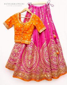Hansa Khatwani Pink Embroidered #Lehenga With Orange #Blouse.
