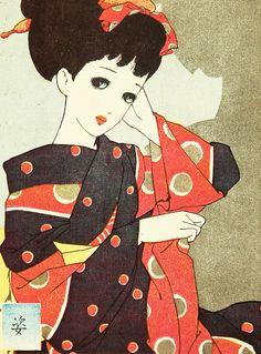 Nakahara Junichi 中原淳一 Figure from the series Postcards of Japanese Maidens Japanese Art Modern, Japanese Prints, Vintage Japanese, Japanese Kimono, Vintage Posters, Vintage Art, Japanese Illustration, Virtual Art, Japanese Painting