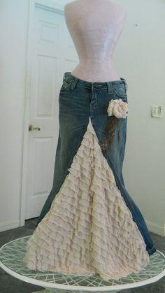 Crema de Belle Époque jean falda con volantes a por bohemienneivy