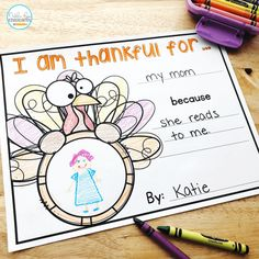Kindergarten Freebies, Kindergarten Writing, Kindergarten Activities, Literacy, Thanksgiving Writing, Thanksgiving Craft Kindergarten, Thanksgiving Crafts, First Grade Writing, Teaching First Grade