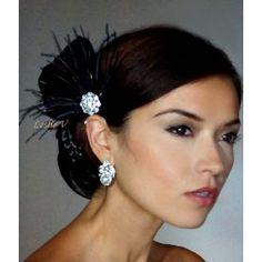 Black Crystal Rhinestone Feather Fascinator Headpiece FT32-blk