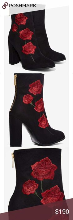 Intentionally Blank Rosa Embroidered Suede Boot Brand new adorable rose embroidered boots Nasty Gal Shoes Ankle Boots & Booties