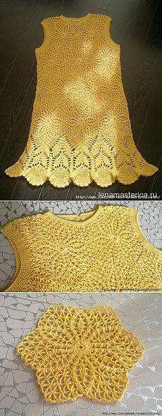 "Crochet summer dress, lace dress crochet, flower dress Платье ""Солнышко"" крючком"
