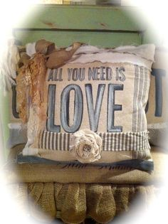 burlap lace linen  pillow shabby chic ticking by icelandicmom, $45.00