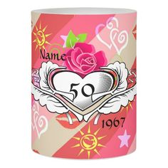 1967 50th Birthday Her Tattoo Hearts Roses Custom Flameless Candle