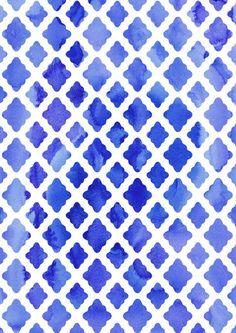 Watercolor Diamonds art print. #ColorIntensity #CobaltBlue #TurnHeads