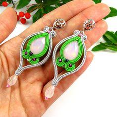 Dangle long soutache earrings silver green pink by byPiLLowDesign