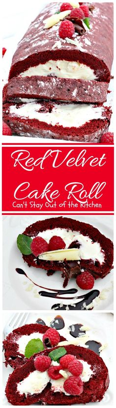 Red Velvet Cake Roll   Can't Stay Out of the Kitchen   spectacular #PaulaDeen recipe to die for! #RedVelvet #cake has a fantastic #whitechocolate #cheesecake filling. Great for the #holidays, anniversaries or #Valentine'sDay. #dessert #chocolate