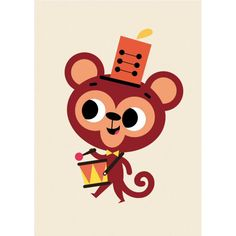 Badaboum, voici le petit singe musicien de Tiago Americo qui va vous interpréter une symphonie en ut majeur sur son tambour !    D : 14,8 x 10,5 cm.    Papier 300 gr FSC, finition mate.     2,50 € http://www.lafolleadresse.com/cartes/4757-carte-petit-singe-musicien-tiago-americo.html