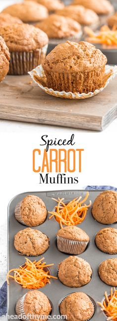 Spiced Carrot Muffins Are you a fan of carrot cake? Then you will be a fan of these warm, lightened up, spiced carrot muffins which will satisfy even your strongest cravings! Köstliche Desserts, Delicious Desserts, Dessert Recipes, Yummy Food, Easter Recipes, Muffins Blueberry, Carrot Cake Muffins, Carrot Cakes, Mini Muffins