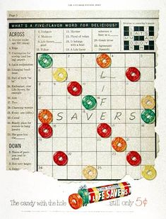 "1951 Lifesavers candy original vintage advertisement. Features crossword puzzle style format. ""Still only 5¢."""