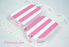 Princess PINK Paper Tags Pink and White Striped Tags for Bridal shower, wedding, princess party, tea party, candy bar...  by PennyLine, $5.50
