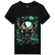 Skulls - Green 3D Short-Sleeved Mens T-Shirt