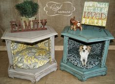 DIY End Table Dog Beds (before and after). Or, create a vignette, seasonal, family photos/mementos, inside. get some yourself some pawtastic adorable cat apparel! Dog Furniture, Repurposed Furniture, Furniture Ideas, Luxury Furniture, Modern Furniture, Furniture Buyers, Futuristic Furniture, Modular Furniture, Furniture Showroom