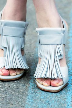 How cute for something Blue to be a pair of Pale fringed leather heels? Like these bad boys from Tod's