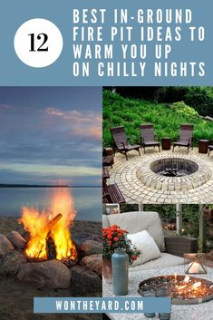 In this article we've come up with 12 of our favorite in-ground fire pit ideas to light up the night and keep you warm when it's chilly out! Paver Fire Pit, Fire Pit Grill, Fire Pits, Backyard Playground, Ponds Backyard, Backyard Ideas, In Ground Fire Pit, Side Yard Landscaping, Pergola Pictures