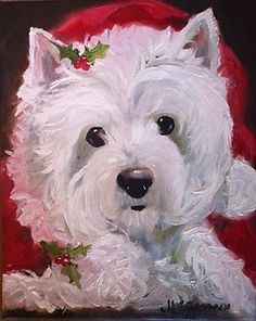 Sparrow Westie West Highland Terrier Dog Santa Christmas Holiday Art Painting | eBay buy it now for Christmas Gift for the Dog Lover!