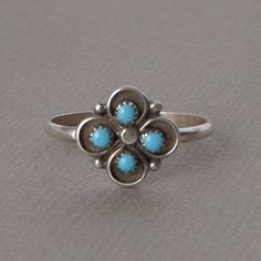 Zuni ring Turquoise chips friendship band tribal sterling silver women boys size 5