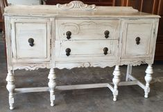 "Check out this gorgeous antique buffet. We were able to bring it back to life and paint it antique white with a dark glaze. What do you think? The dimension are 59.5"" L, 20"" W, 36.5"" H. SOLD!! for $375 https://www.pinterest.com/shabbychictexas/my-shabby-chic-buffets/"