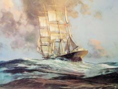 "John Stobart (1929 - ) ""Gatherer Before the Wind"" Maritime Nautical Tall Ship Choppy Seas Ocean - pinned by pin4etsy.com"