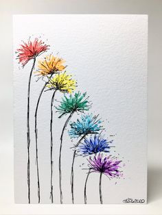 cards for kids birthday Original Hand Painted Greeting Card - Abstract Rainbow Spiky Flower Watercolor Cards, Watercolor Flowers, Watercolor Paintings, Drawing Flowers, Painting Flowers, Watercolours, Paint Cards, Doodle Art, Flower Art