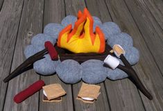 Deluxe Felt Campfire Play Set with S'mores by aHeartforCrafts, $80.00