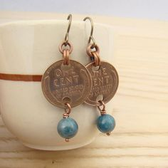 Wheat penny earrings US coin blue apatite by laurelmoonjewelry, $14.00