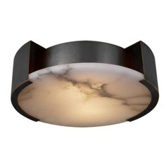 KELLY WEARSTLER | MELANGE SMALL FLUSH MOUNT. Alabaster stone coupled with luxe metals