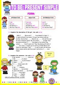 Verb to be: Simple Present. - English ESL Worksheets for distance learning and physical classrooms English Grammar Worksheets, English Verbs, Kids English, English Lessons, Learn English, English Language, Spanish English, Grammar Activities, English Activities