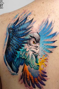Bright Colorful Owl Tatto Design For Back Cute tattoos with meaning for women who are in love with fashion, style, and higher knowledge. Tiger Tattoo Sleeve, Tattoo Tribal, Back Tattoo, Watercolor Owl Tattoos, Owl Tattoo Drawings, Tattoo Sketches, Owl Tattoo Meaning, Cute Tattoos With Meaning, Owl Tattoo Design