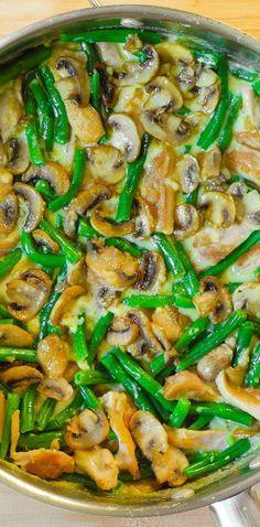 Green Beans and Mushroom Chicken Skillet - Thanksgiving recipe