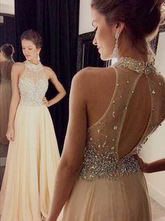 Sexy A-Line Prom Dress,High Neck Chiffon Prom Dress,Floor-Length Prom/Evening Dress with Beaded,111043039