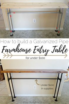 Building the frame was only the beginning, and I love the final product. Take a look at how we finished this DIY galvanized pipe farmhouse entry table Diy Entryway Table, Diy Sofa Table, Entry Tables, Diy Furniture Table, Sofa Tables, Diy Furniture Industrial, Behind Couch Table Diy, Galvanized Pipe Furniture, Pallet Entry Table