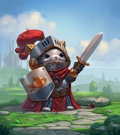 cat_knight by Andrey Modestov on ArtStation. Cat Character, Fantasy Character Design, Character Design Inspiration, Character Concept, Concept Art, Dnd Characters, Fantasy Characters, Furry Art, Fantasy Art