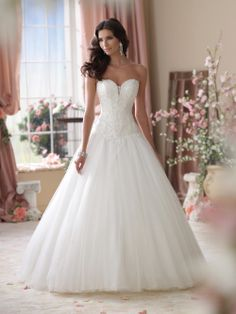 Free Shipping Strapless Sweetheart Beading Appliques on Tulle Floor Length A-Line 2014 Wedding Dresses Edna € 135,10