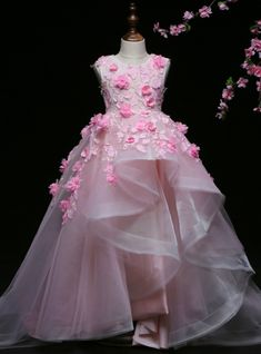 Pink Ball Gown Tulle Appliques Flower Girl Dress With Hand Flower True Style Never Dies Girls Pageant Dresses, Gowns For Girls, Frocks For Girls, Kids Frocks, Little Girl Dresses, Flower Girl Dresses, Flower Girls, Birthday Girl Dress, Birthday Dresses