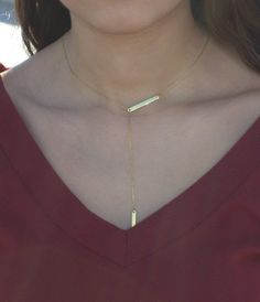 Lariat Gold Filled Necklace-Silver-Gold by HelloSprings on Etsy
