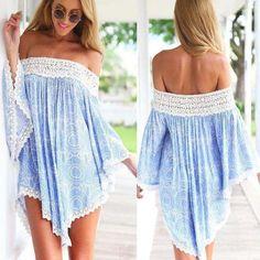 Sexy Asymmetrical Lace Print Dress
