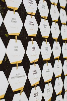 Graphic, Hexagonal Escort Cards | Amber Gross Photography https://www.theknot.com/marketplace/amber-gress-photography-brooklyn-ny-951929