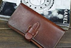 Handmade biker wallet leather with chain coffee dark brown Long wallet | EverHandmade