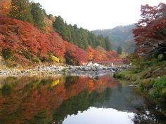 Kourankei, Mt.Iimori, Tomoe river, and Taigetsukyo bridge. Asuke, Toyota city, Aichi Prefecture, Japan.