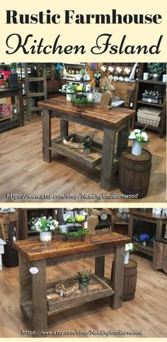 I love this rustic farmhouse kitchen island!  The wood is beautiful and would match my floors perfectly. #ad #rusticdecor #rustic #rusticfarmhouse #farmhouse #farmhousestyle #farmhousedecor #farmhousekitchen #kitchenideas #kitchens #kitchenisland #wooden #woodwork