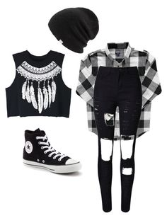 """black and white"" by maddie-medsker on Polyvore featuring WithChic, Converse and Coal"