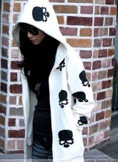 Hoodies Women , Girl : Fashion Hoodies Women Fashion Skull Heads Hoodies,Lady Zip Up Coat /Jacket,Black White Hot Sweater for Autumn : White ps.easyshop,http://www.amazon.com/dp/B00EXREU20/ref=cm_sw_r_pi_dp_ApTVsb07R2SHQZJF
